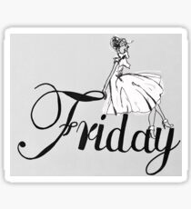 Friday Lady (black and white) Sticker