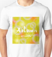 Yellow Orange Blurred Autumn Background with Flafe and Lens T-Shirt