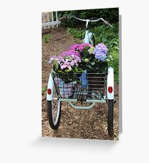Basket Full Of Hydrangea Flowers Greeting Card