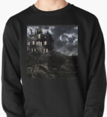 Haunted creepy house in ghastly moonlight Pullover