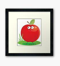 Cartoon Apple Character Framed Print