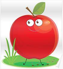 Cartoon Apple Character Poster