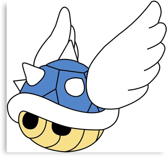 'Blue Shell Mario Kart Carapace Bleue' Canvas Print by Sndn
