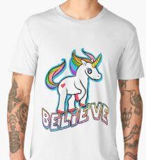 Retro Kawaii Cute Unicorn Believe Geek Design Men's Premium T-Shirt