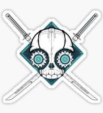 Cyborg Skull Sticker