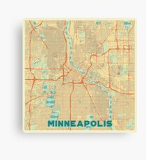 Minneapolis Map Retro Canvas Print