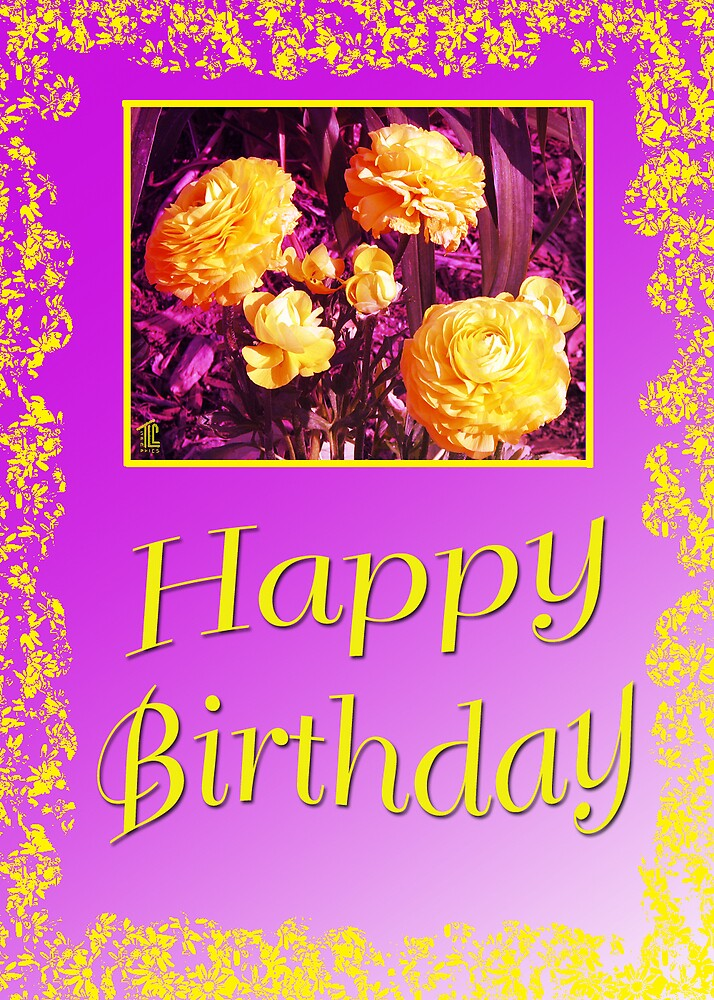 Happy Birthday Yellow Framed Flowers by TLCGraphics