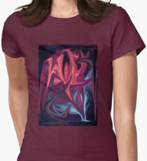 Red Blue Abstract Art Composition Womens Fitted T-Shirt