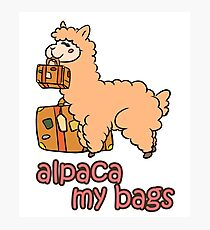 Kawaii Cute Anime Alpaca My Bags Geek Humor Design Photographic Print