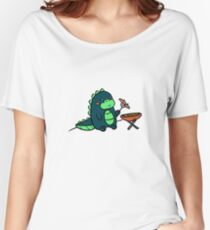 Kawaii Cute BBQ Dragon Dino Humor Geek Design Women's Relaxed Fit T-Shirt