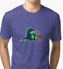 Kawaii Cute BBQ Dragon Dino Humor Geek Design Tri-blend T-Shirt