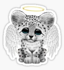 Cute Baby Snow Leopard Cub Angel Sticker