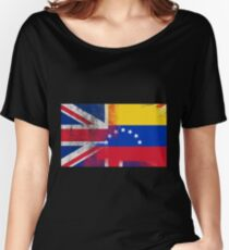 British Venezuelan Half Venezuela Half UK Flag Women's Relaxed Fit T-Shirt