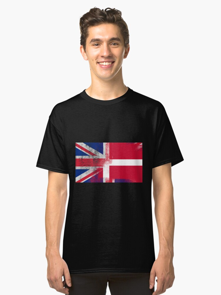 e8d0721e0 British Danish Half Denmark Half UK Flag Classic T-Shirt Front