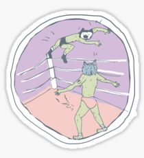 Pro-wrestling kawaii cats fighting wrestling ring Sticker