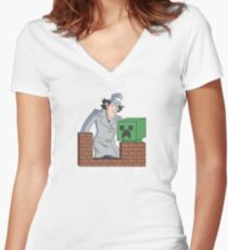 Brown Bricks Women's Fitted V-Neck T-Shirt