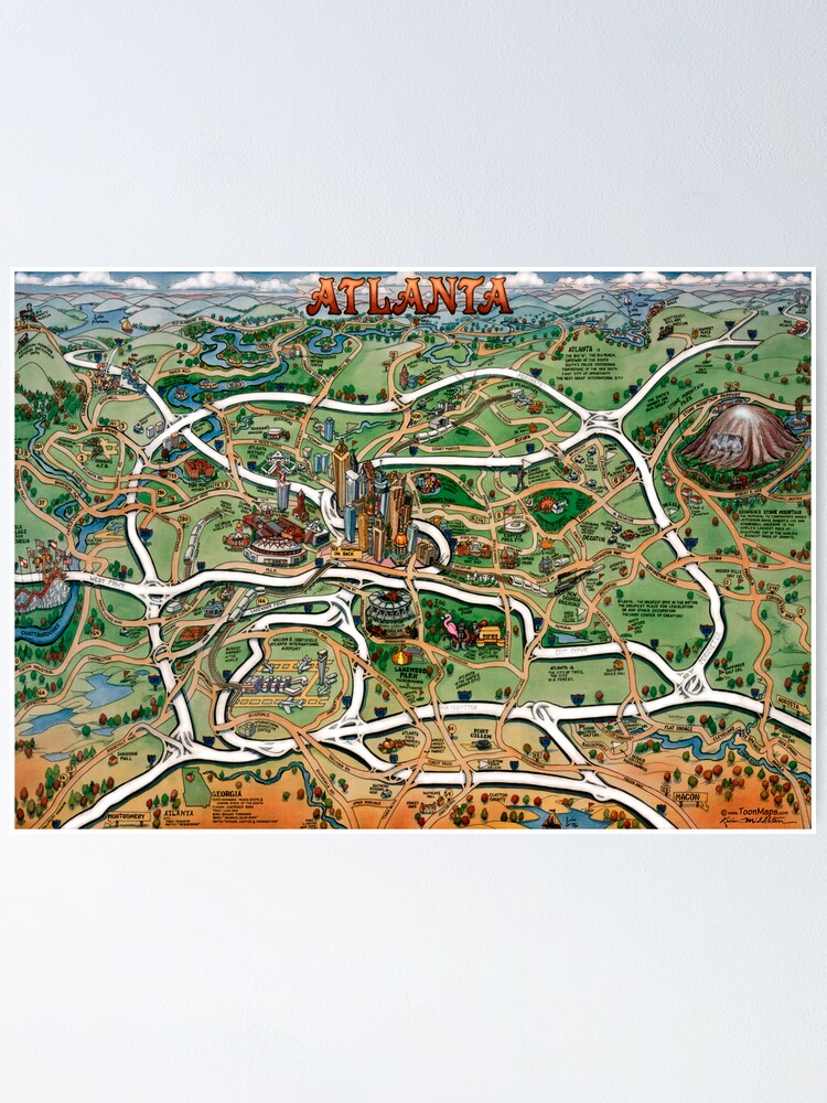 Atlanta Georgia Cartoon Map   Poster