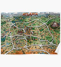 Atlanta Georgia Cartoon Map Poster