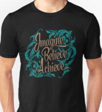 Imagine Believe Achieve  Cool Trending Novelty Soft Screen Printed Summer Graphic Gift Tshirt T-Shirt