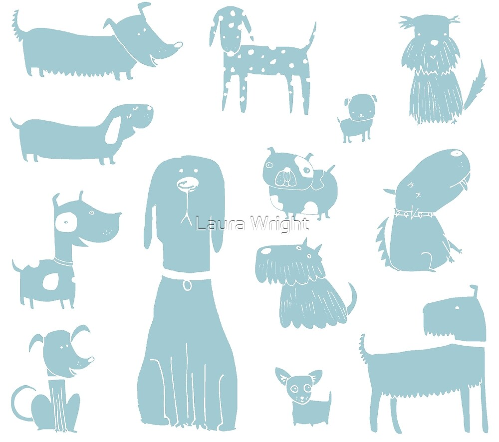 dogs - pale blue by Laura Wright