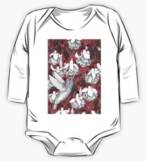Hummingbird and fuchsia, red background Kids Clothes