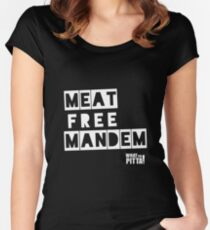 Meat Free Mandem! - Black Tee Women's Fitted Scoop T-Shirt