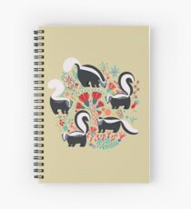 Cute Gang of Skunks Playing in the Garden Spiral Notebook