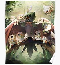 Decidueye Familia con Rowlet y Dartrix / Decidueye's Family with Rowlet and Dartrix Poster