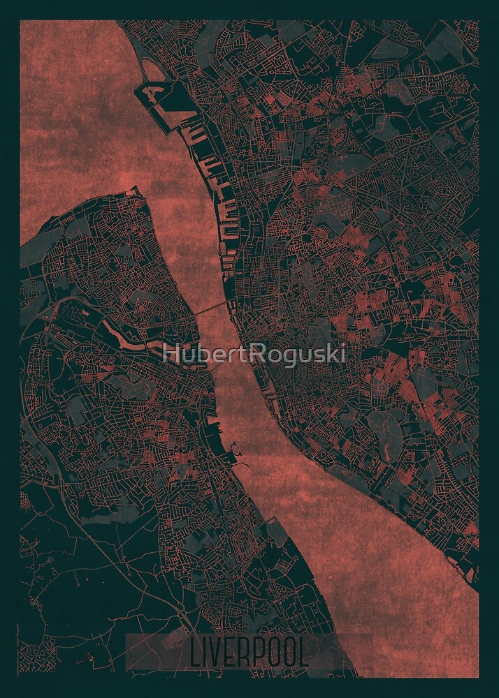Liverpool Map Red by HubertRoguski