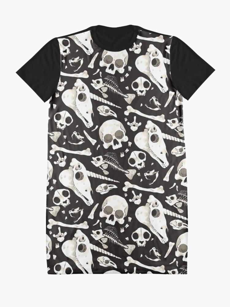 Alternate view of black Skulls and Bones - Wunderkammer Graphic T-Shirt Dress