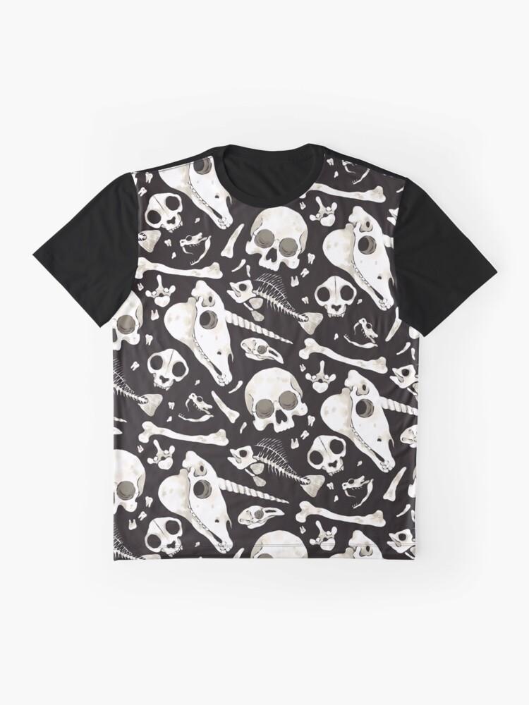 Vista alternativa de Camiseta gráfica Cráneos y Huesos negros - Wunderkammer