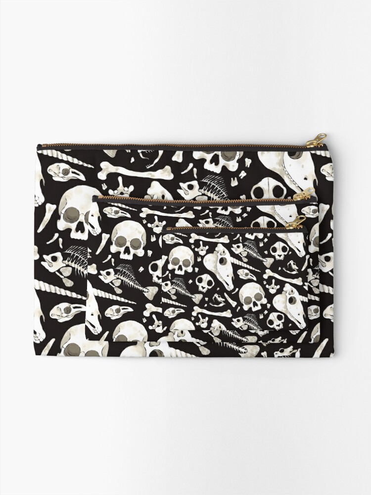 Alternate view of black Skulls and Bones - Wunderkammer Zipper Pouch