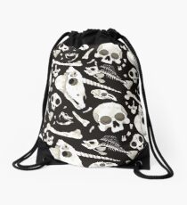 black Skulls and Bones - Wunderkammer Drawstring Bag
