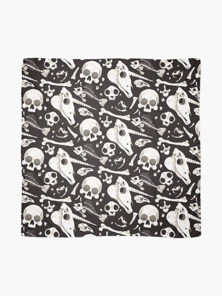Alternate view of black Skulls and Bones - Wunderkammer Scarf