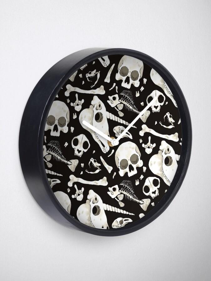 Alternate view of black Skulls and Bones - Wunderkammer Clock