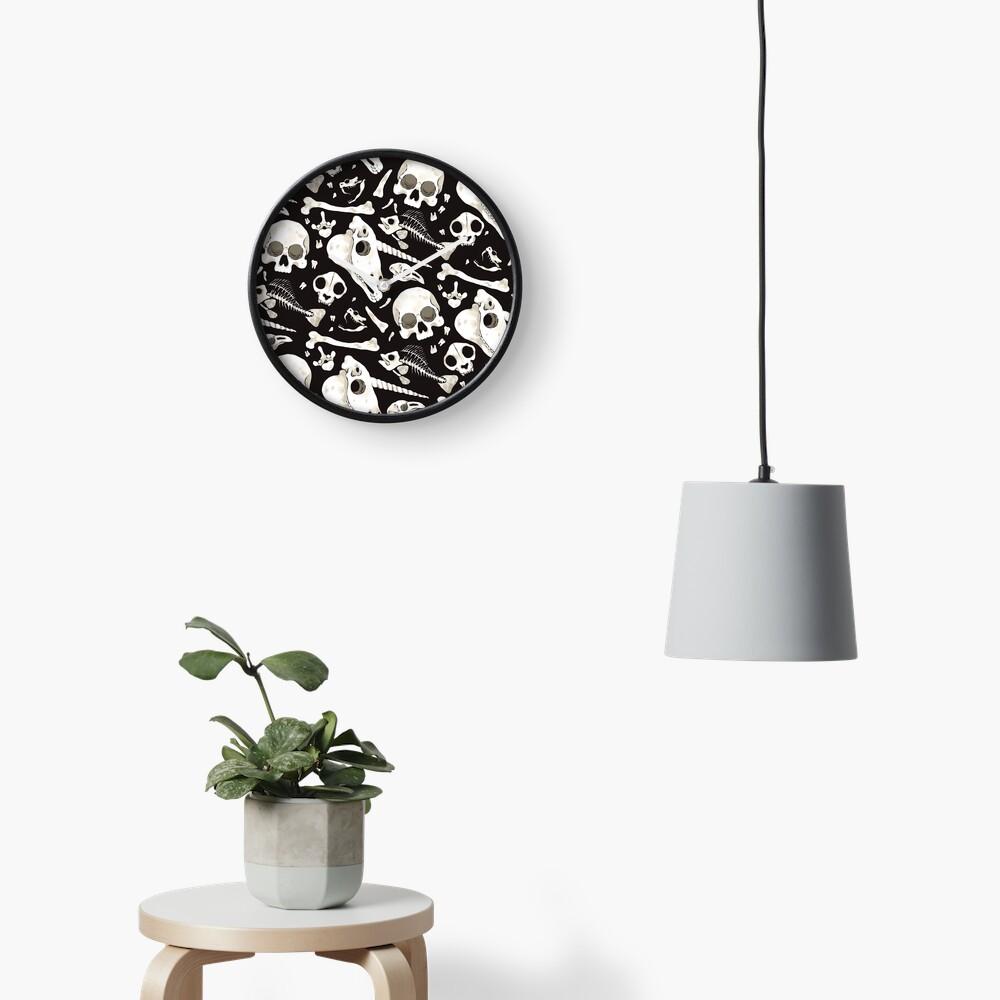 black Skulls and Bones - Wunderkammer Clock