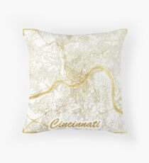 Cincinnati Map Gold Throw Pillow