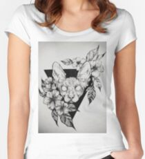 Hairless Sphinx Cat Flower Portrait  Women's Fitted Scoop T-Shirt
