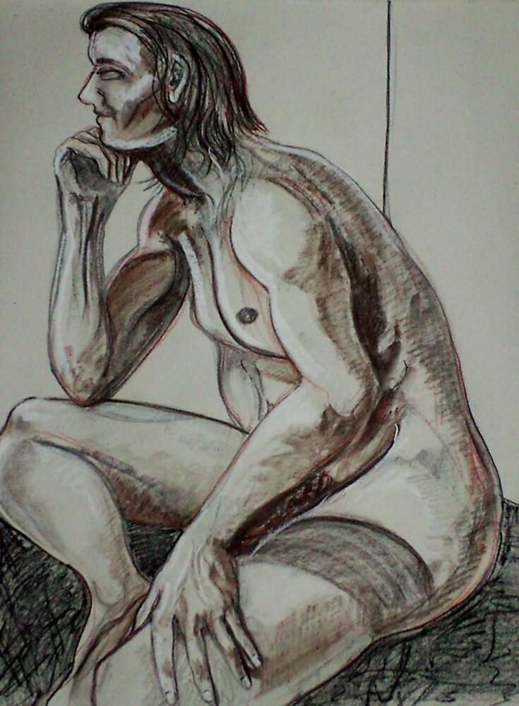 Pondering Male Nude (Drawing)- by Robert Dye
