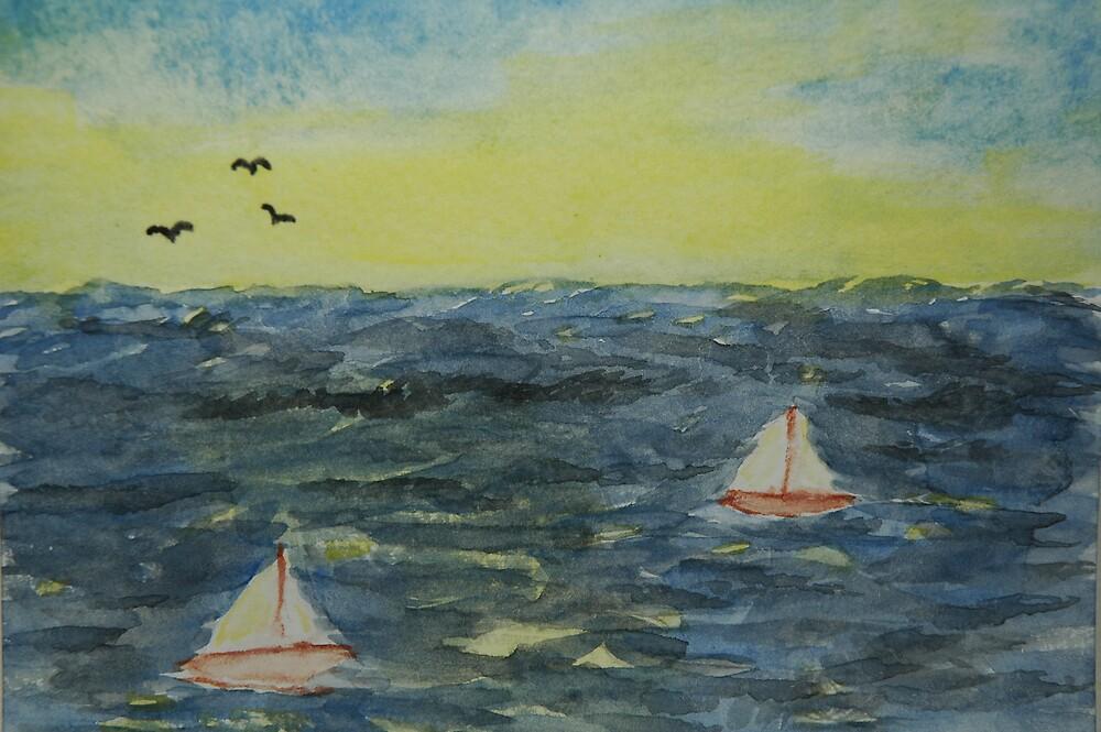 sailboats at Sunset by wwalla