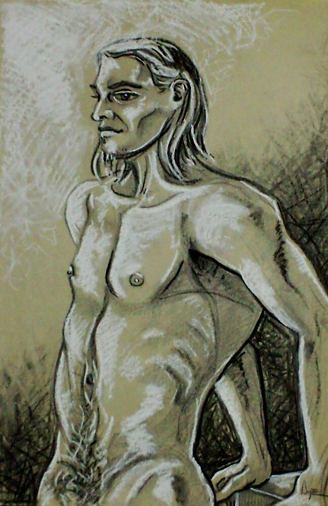 Torso of the Male Nude (Drawing)- by Robert Dye