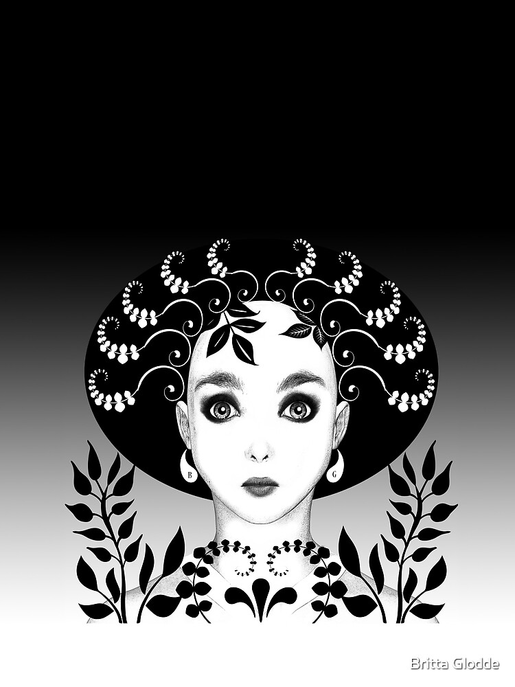 Black and white floral art deco face by BrittaGlodde