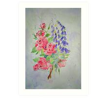 Roses and Digitalis Art Print