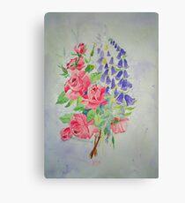 Roses and Digitalis Canvas Print