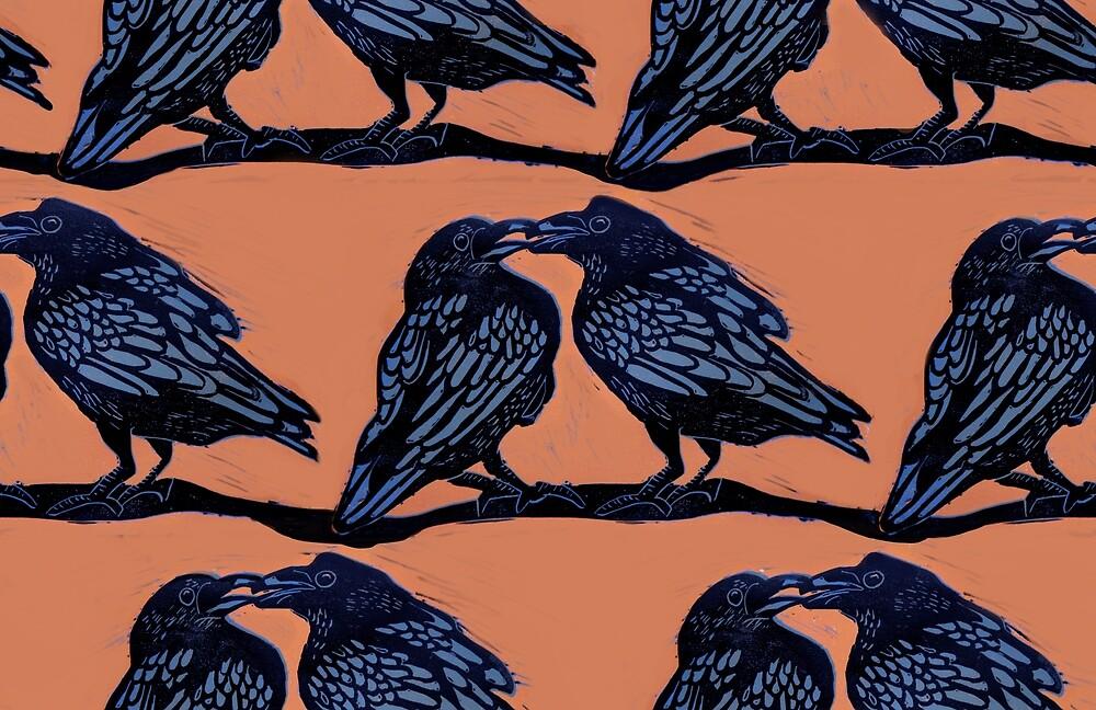 Orange Crows by ariellemorris