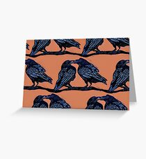 Orange Crows Greeting Card