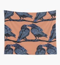 Orange Crows Wall Tapestry