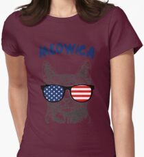 Meowica USA Cat Womens Fitted T-Shirt
