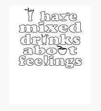 Mixed Drinks Soft Party Screen Printed Summer Graphic Gift Tshirt Photographic Print