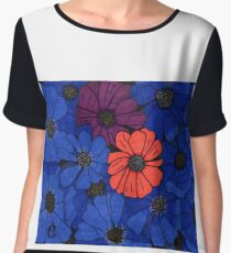 Contrasting Flowers Women's Chiffon Top